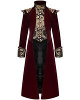 Devil Fashion Mens Long Gothic Coat Jacket Red Velvet Black Gold Damask Regency