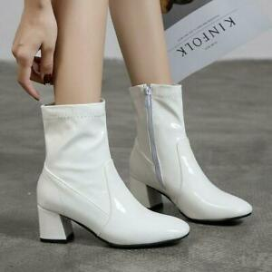 Women Chunky Heels Casual Side Zip Shoes Square Heels Ankle Boots Patent Leather