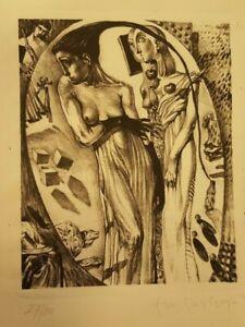 "Grabado Eva Davidova "" Mujeres "" 27/80 firmado aguafurte FNMT ( descripcion )"