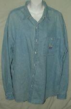 The Disney Store Blue Men's Jean Denim Shirt Winnie The Pooh & Gang Size XL