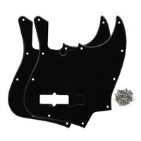 2PCS 1Ply Black 4-String Fender Jazz Bass Pickguards 10 Holes Scratch Plates