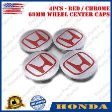 4PCS Wheel Center Hub Caps Gray Red Emblem For Honda CIVIC CR-V ACCORD 69MM