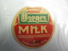 Grand Rapids, Mich. milk bottle cap KROGER Milk Delivered Wednesday MICHIGAN MI