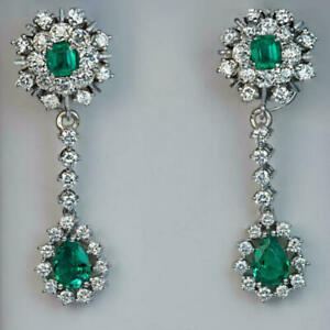 Beautiful Antique Drop Earrings In Green 2.20CT Emerald With 2.90Ct Stone