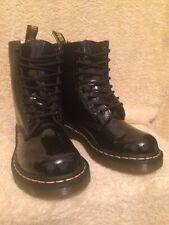 GENUINE DR MARTENS 1460W BLACK PATENT LEATHER BOOTS EX CON UK4 EU37 US6L RRP£120