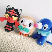 Anime Pokemon Center Rowlet Litten Popplio Plush Doll Set Of 3 Sun Moon Toy