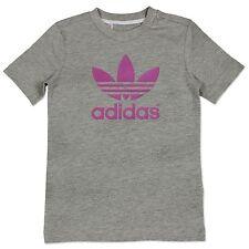 Adidas Originals AC Logo Trébol Niños Niñas Camiseta de verano Gris Púrpura 110