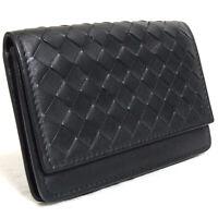 Authentic Bottega Veneta Intrecciato Black Leather Card Case Vintage Italy Made