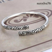 Men Jewelry Thai Silver Vintage Women Bangle Bracelet Open Cuff Handmade
