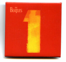 BEATLES 1 promo BUTTON BADGE Pin 2000 -- red square w/small Apple logo