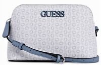 NWT GUESS BRUNA HANDBAG Blue Multi Logo Crossbody Shoulder Bag GENUINE