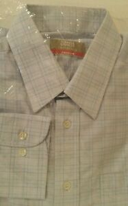 Mens Marks and  Spencer shirt Easy Care Office Lilac Checked New