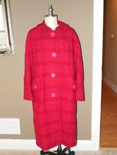 Vintage 60's PINK & RASPBERRY Plaid Wool BOUCLE COAT By DAVIDOW London PARIS XL