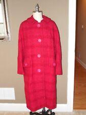Vintage 60's Pink & Raspberry Plaid Wool Boucle Coat By Davidow London Paris Xl