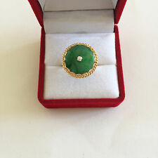14K Solid Yellow Gold Roud Donut Green Jade Women Ring -  size 6 - R278