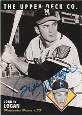 JOHNNY LOGAN Autographed Signed 1994 UD Heroes card Milwaukee Atlanta Braves