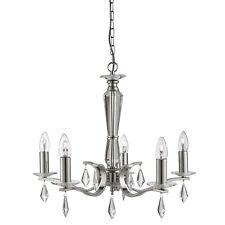 Royale Satin Silver 5 Light Ceiling Chandelier Fitting Hexagonal Glass Sconces