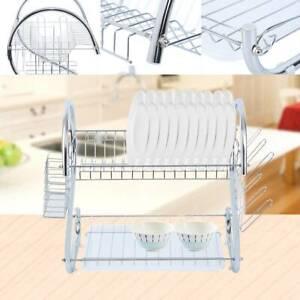 Kitchen Dish Drying Rack Shelf Drainer Dryer Tray Cutlery Holder Organizer