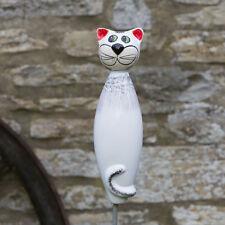 Keramik Katze für den Garten, groß in weiß / Gartenstecker