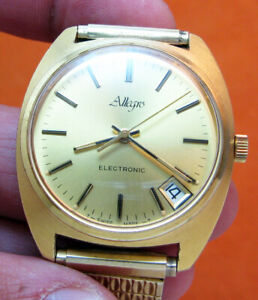 SERVICED ALLEGRO F300 ELECTRONIC ZENITH GOLD PLATE TUNING FORK MEN'S WATCH