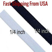 """1/4"""" Knitted Elastic - Black or White- Fast SHIPPING- Oregon, USA 5-100 yards"""