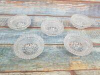 5 X Cut Glass Vintage Ash Trays