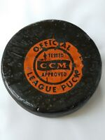 VINTAGE OFFICIAL LEAGUE HOCKEY PUCK CCM TESTED APPROVED MADE IN CANADA BEAT UP!