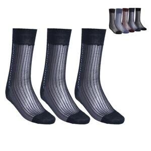 3Pairs Men Jacquard Sheer Dress Socks Fashion Silk Short Over The Calf Stockings