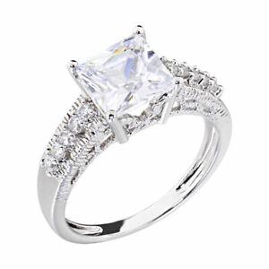 14k White Gold EP Women's Wedding Engagement Ring Square CZ Bridal Promise Ring