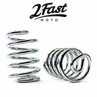 "3"" Chrome Straight Spring Solo Seat Pan 2pk Motorcycle Chopper Bobber Cafe Racer"