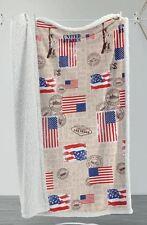 PLAID PILE 130X160 AGNELLATO SHEEPA USA BANDIERE NEW YORK IDEA REGALO AMERICA