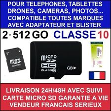 CARTE MEMOIRE MICRO SD 512 256 128 64 32 16 8 4 2 GO GB GIGA CLASSE 10 SDXC SDHC