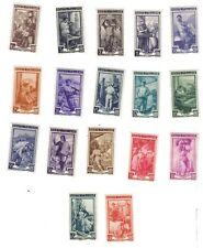 1950 italia al lavoro serie 17 valori SASSONE 634-650 bicolori e mac COD.FRA.635