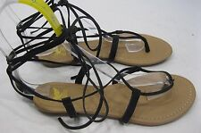 NEW LADIES Summer Black Womens Shoes Tie Up Sexy Sandals Size 6