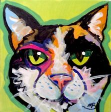 Broadway Original Expressionism Colorful Cat Acrylic 2x2 in. painting