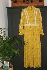 💅 Shein 💃 🏽 Folk campesino Maxi Gypsy Pradera vestido largo amarillo Boho Chic Talla S, 8