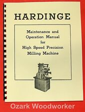 Hardinge Horizontal Milling Machine Operators Amp Maintenance Manual 0939
