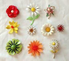 Vintage Enamel Flower Power Metal Brooch Pin Retro Lot of 10 Daisy Costume