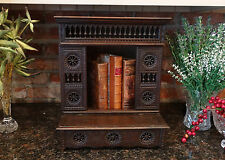 Antique French Breton Carved Wood Miniature Doll Armoire Cabinet Case Box
