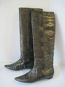 Devi Kroell Knee Multicolored Knee High Python Boots - Size 37