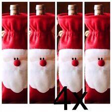 4x SANTA XMAS WINE  BOTTLE HOLDER---IDEAL CHRISTMAS  WINE BOTTLE &  DECORATION