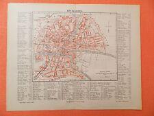 KÖNIGSBERG in Preußen + Register historischer  Stadtplan von 1888 City Map