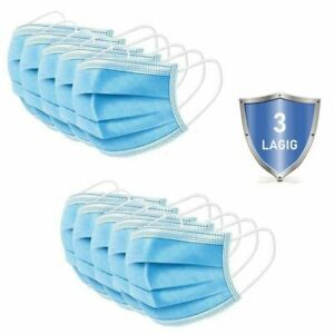 10 Stück Mund-Nase-Maske, Mundschutz, Einwegatemmaske, 3-lagig