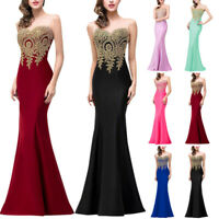 Women's Long Formal Party Ball Gown Evening Prom Bridesmaid Mermaid Beaded Dress