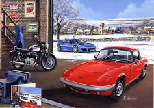 Large Christmas Card Lotus Evora 400 Hethel Triumph Bonneville Lotus S4 Coupe