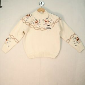 VINTAGE Sweater Marnie West Size Medium White Ivory Floral NWT 90s 80s