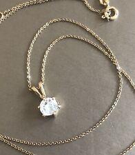9ct Oro Solitario Diamante Colgante Cadena Collar 0.75ct cerca de 1ct