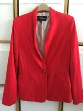 Papaya Red Jacket Blazer Size 8 Striped Lining Soft Lightweight Shoulder Padding