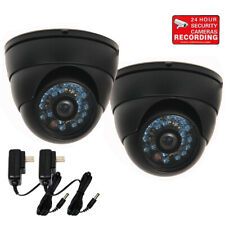 2 Outdoor Ir Day Night Vision Surveillance Cctv Security Cameras w/ 2 Powers Bdg