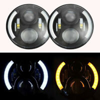 For Land Rover Defender 7'' Black LED High Out Put Head Lights Daylight Halo